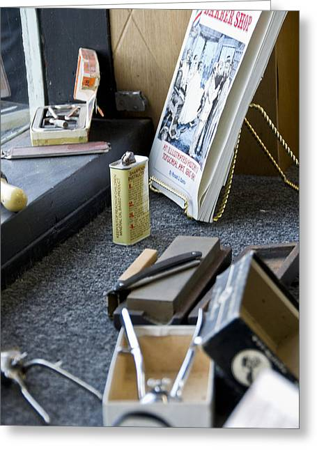 Scissors Greeting Cards - The Barber Shop 11 Greeting Card by Angelina Vick