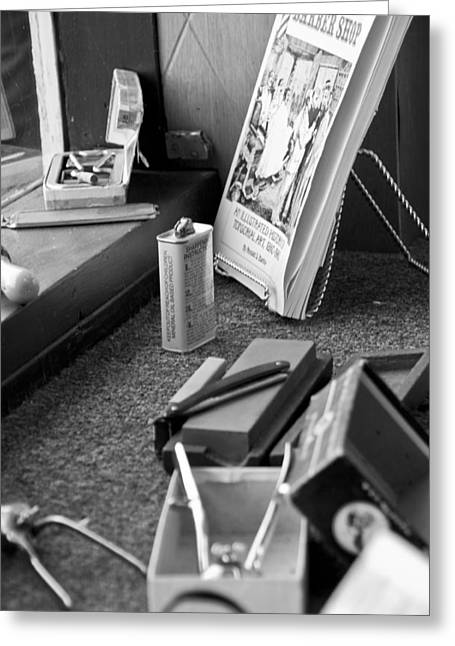 Scissors Greeting Cards - The Barber Shop 11 BW Greeting Card by Angelina Vick