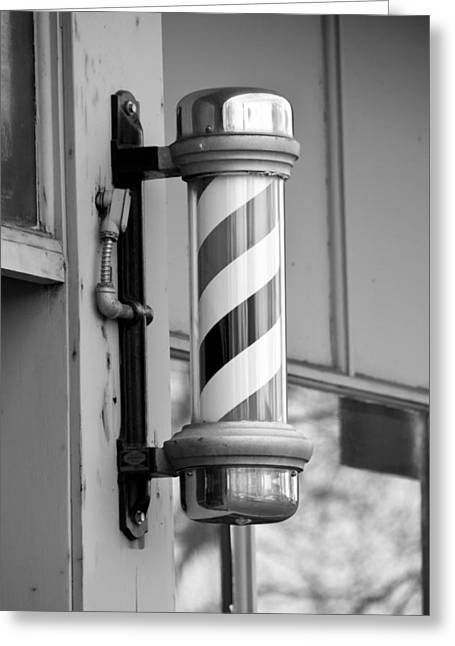 Scissors Greeting Cards - The Barber Shop 4 BW Greeting Card by Angelina Vick