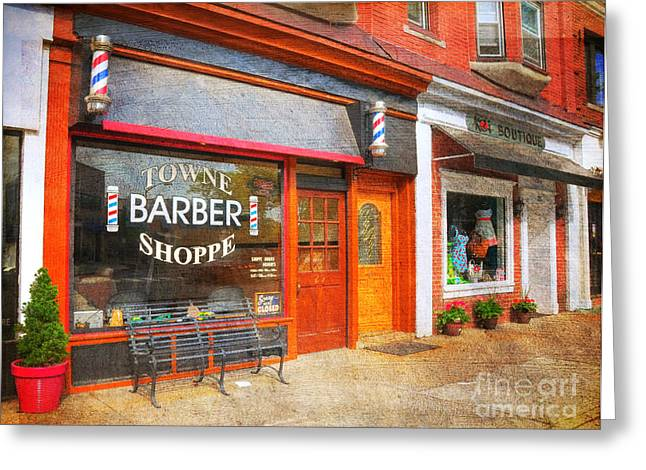 Mayberry Greeting Cards - The Barber Shop Greeting Card by Paul Ward