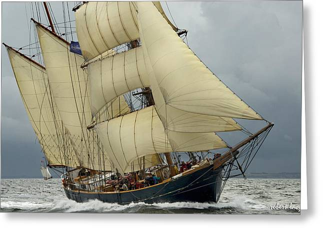 Tall Ships Greeting Cards - The Barkentine Loa Greeting Card by Robert Lacy