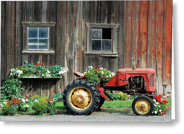 Tractor Tire Greeting Cards - The Barn and Tractor Greeting Card by Paul W Sharpe Aka Wizard of Wonders
