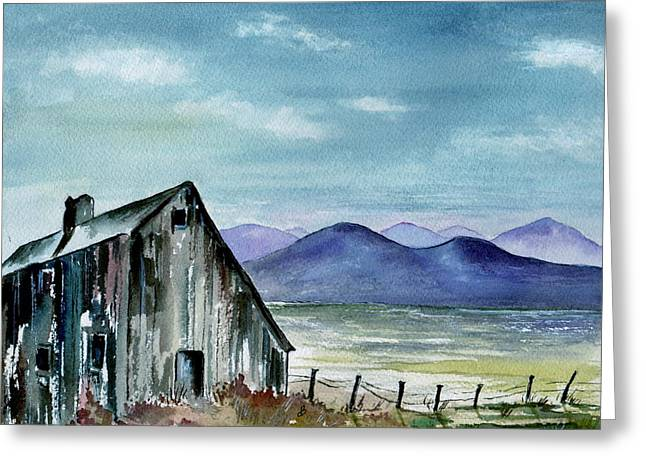 Old Maine Barns Paintings Greeting Cards - The Barn At Dusk Greeting Card by Brenda Owen