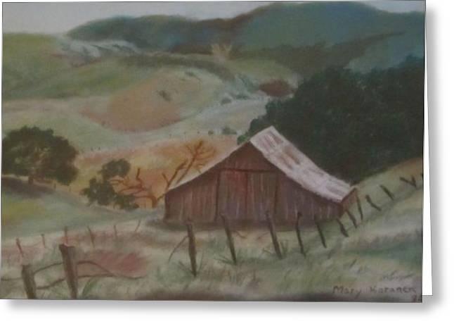 Old Barns Pastels Greeting Cards - The Barn Greeting Card by Colleen Koranek