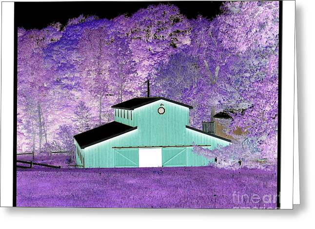 Sofranko Greeting Cards - The Barn Negative Inverted Effect Greeting Card by Rose Santuci-Sofranko