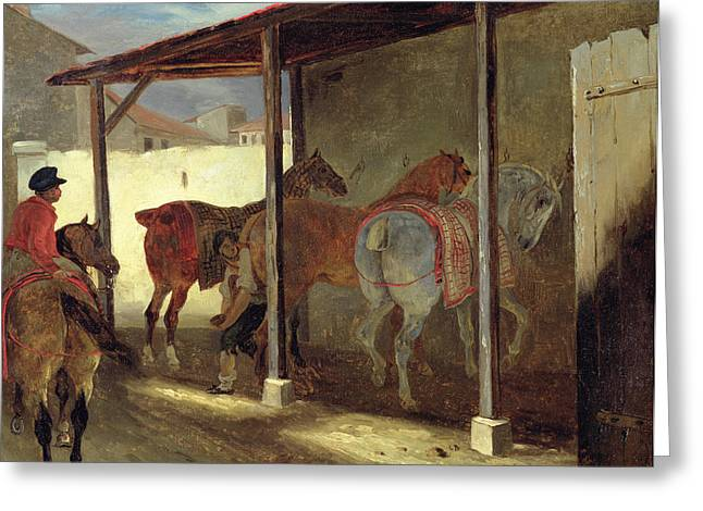 Farm Horse Greeting Cards - The Barn of Marechal-Ferrant Greeting Card by Theodore Gericault
