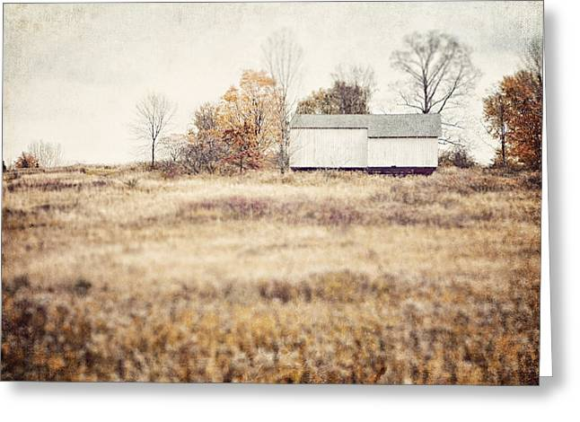 Wintery Barn Greeting Cards - The Barn on the Hill Greeting Card by Lisa Russo