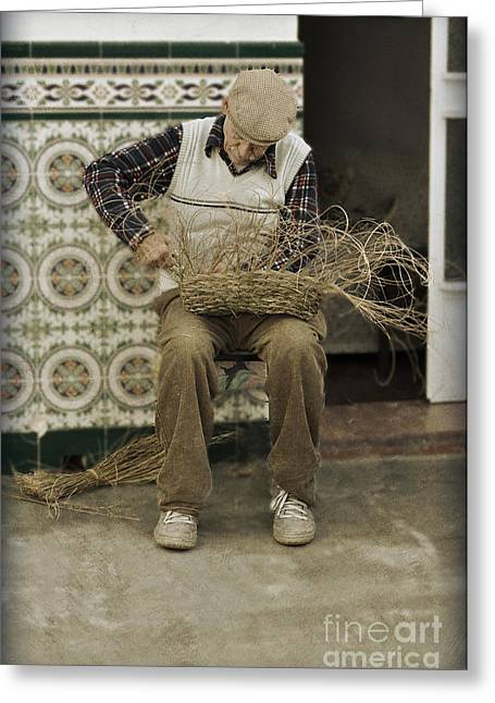 Basket Maker Greeting Cards - The Basket Maker Greeting Card by Mary Machare