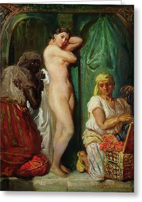 Seraglio Paintings Greeting Cards - The Bath in the Harem Greeting Card by Theodore Chasseriau