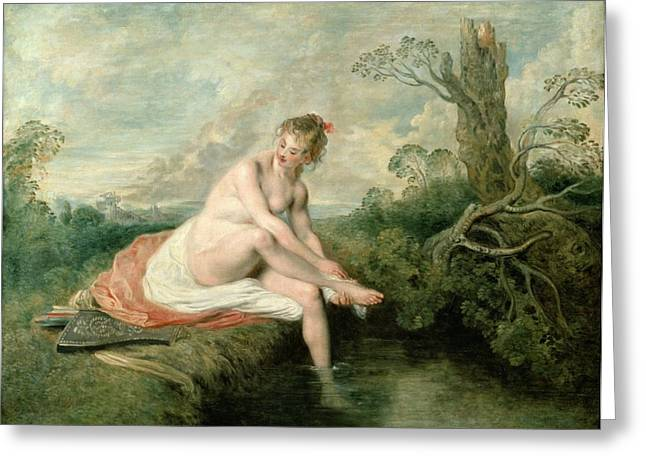 Cleansing Greeting Cards - The Bath of Diana Greeting Card by Jean Antoine Watteau