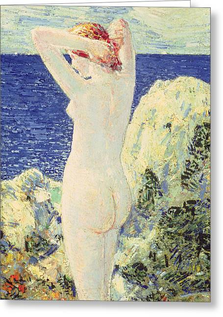 Odalisque Greeting Cards - The Bather Greeting Card by Childe Hassam