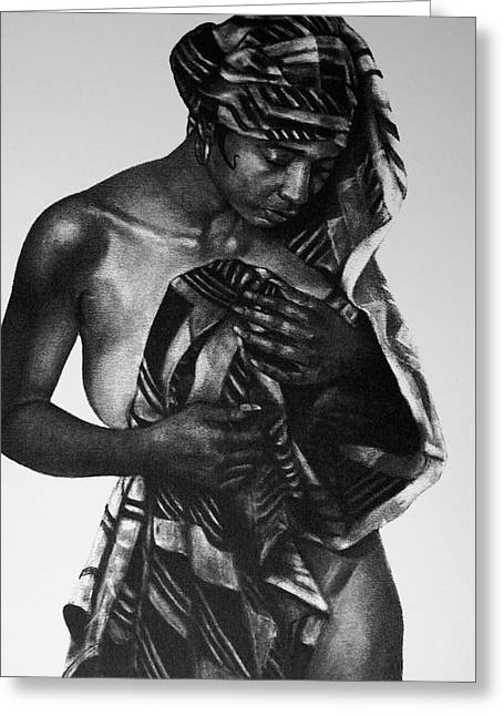 African-american Drawings Greeting Cards - The Bather Greeting Card by Curtis James