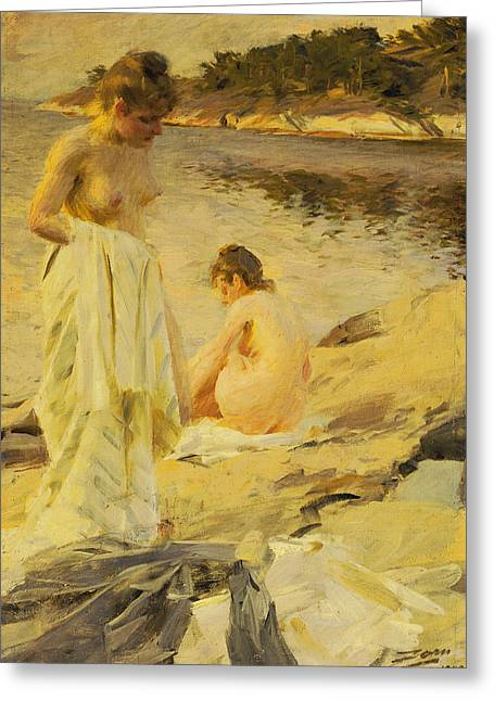 Dipping Greeting Cards - The Bathers Greeting Card by Anders Leonard Zorn