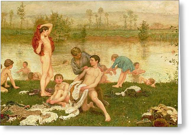 Naked Men Greeting Cards - The Bathers Greeting Card by Frederick Walker