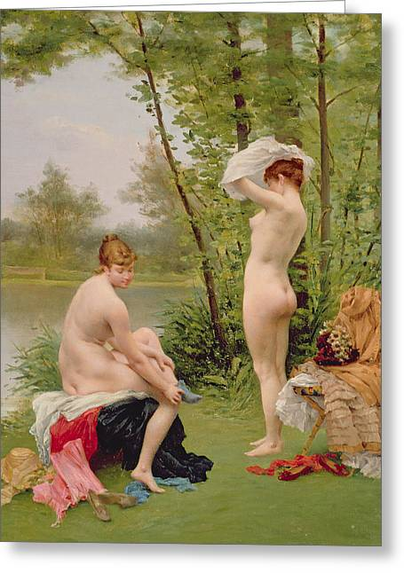 Sex Greeting Cards - The Bathers Greeting Card by Jules Scalbert