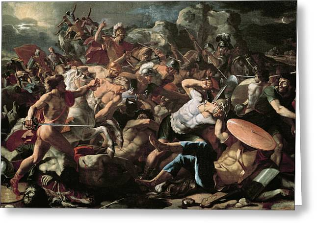 Carnage Greeting Cards - The Battle Greeting Card by Nicolas Poussin