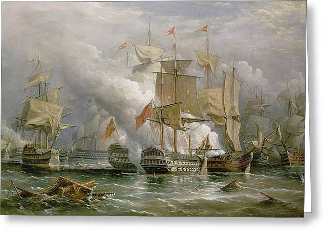 War Ship Greeting Cards - The Battle of Cape St Vincent Greeting Card by Richard Bridges Beechey