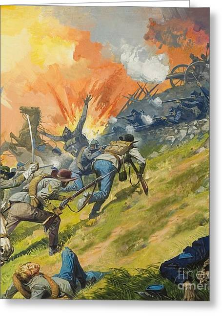 The General Lee Paintings Greeting Cards - The Battle of Gettysburg Greeting Card by Severino Baraldi