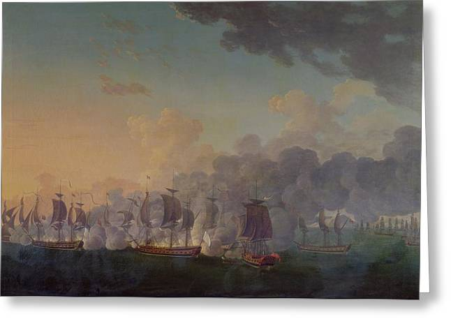 The Battle of Louisbourg on the 21st July 1781 Greeting Card by Auguste Rossel De Cercy