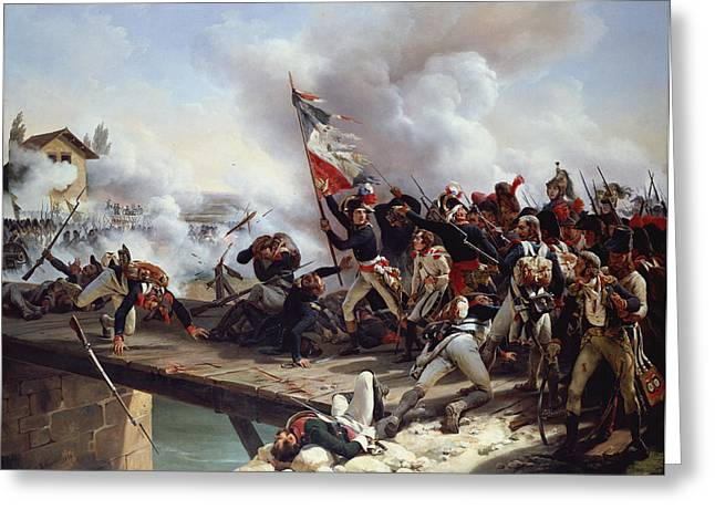 Farmhouse Greeting Cards - The Battle of Pont dArcole Greeting Card by Emile Jean Horace Vernet