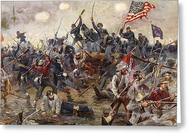 Confederate Flag Paintings Greeting Cards - The Battle of Spotsylvania Greeting Card by Henry Alexander Ogden