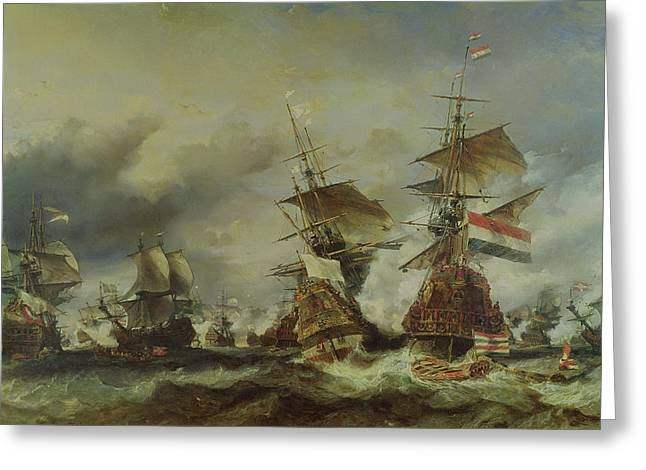 Under The Sea Greeting Cards - The Battle of Texel Greeting Card by Louis Eugene Gabriel Isabey