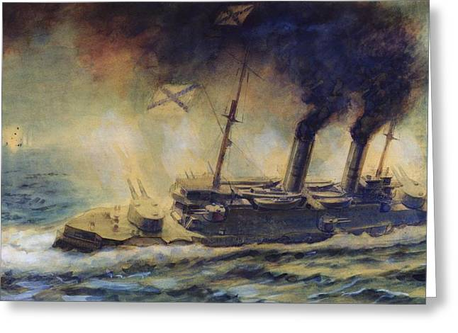 Billowing Greeting Cards - The Battle of the Gulf of Riga Greeting Card by Mikhail Mikhailovich Semyonov
