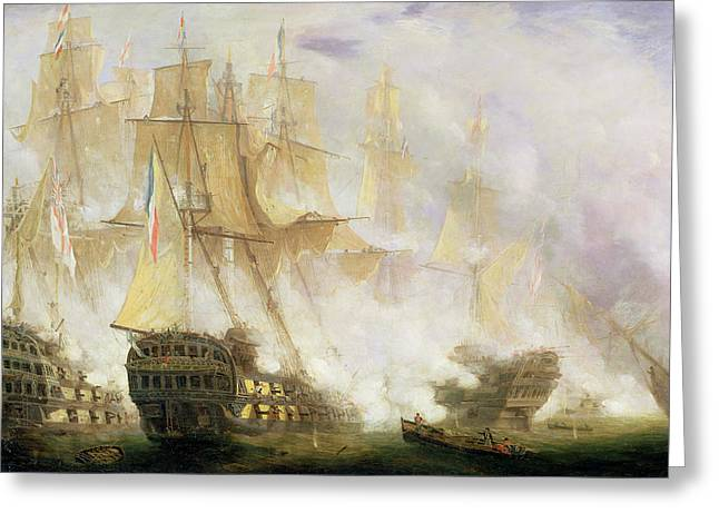 Sink Greeting Cards - The Battle of Trafalgar Greeting Card by John Christian Schetky