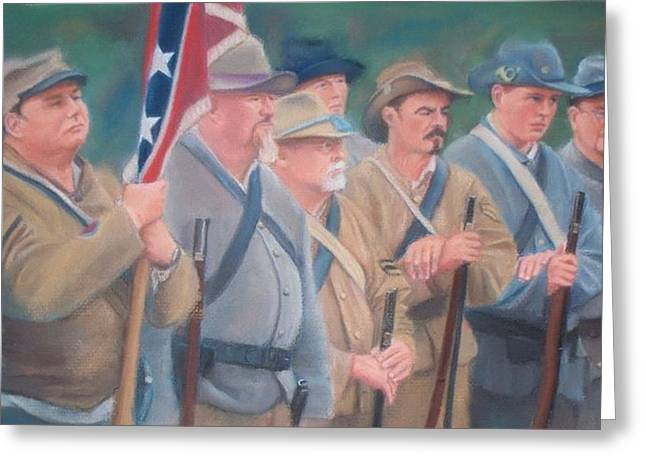 Civil Pastels Greeting Cards - The Battle of Wilsons Store Greeting Card by Diane Caudle