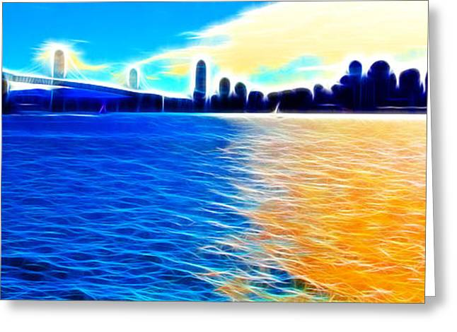 Downtown San Francisco Greeting Cards - The Bay Bridge and The San Francisco Skyline . Panorama Greeting Card by Wingsdomain Art and Photography
