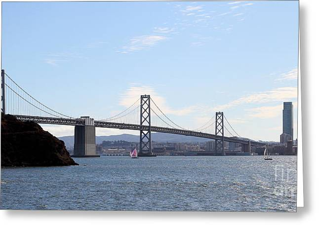 Downtown San Francisco Photographs Greeting Cards - The Bay Bridge and The San Francisco Skyline Viewed From Treasure Island . 7D7778 Greeting Card by Wingsdomain Art and Photography