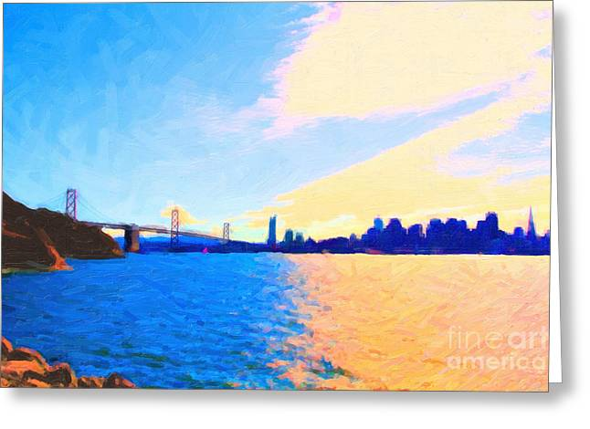 Downtown San Francisco Greeting Cards - The Bay Bridge and The San Francisco Skyline Greeting Card by Wingsdomain Art and Photography