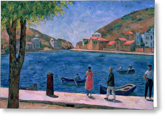 Fishing Village Greeting Cards - The Bay of Balaklava Greeting Card by Aleksandr Davidovic Drevin
