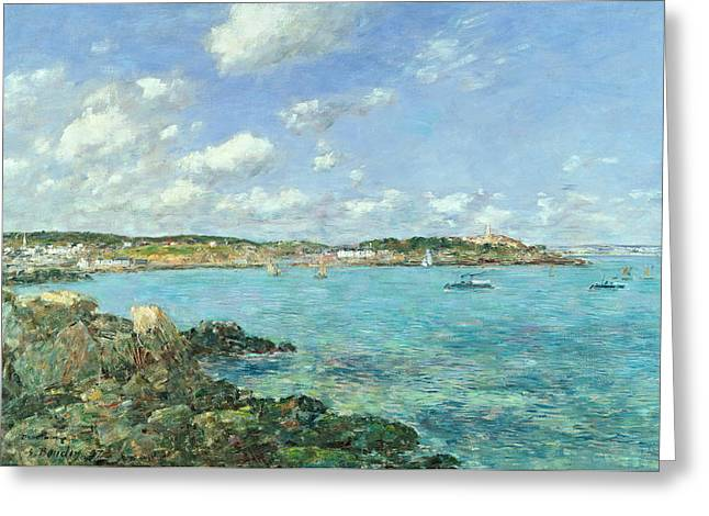 Ocean Sailing Greeting Cards - The Bay of Douarnenez Greeting Card by Eugene Louis Boudin