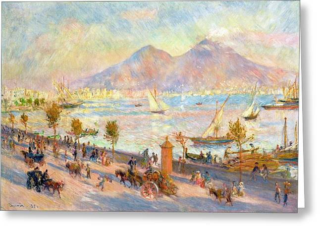 Sailboats Docked Greeting Cards - The Bay of Naples with Vesuvius in the Background Greeting Card by Pierre Auguste Renoir