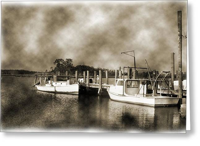 Boats At Dock Greeting Cards - The Bayou Greeting Card by Barry Jones
