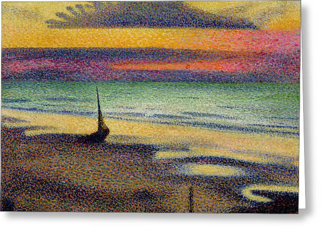 1891 Greeting Cards - The Beach at Heist Greeting Card by Georges Lemmen