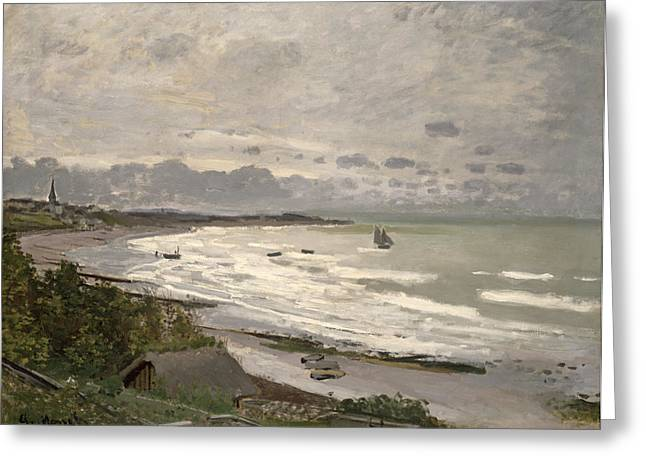 1867 Greeting Cards - The Beach at Sainte Adresse Greeting Card by Claude Monet