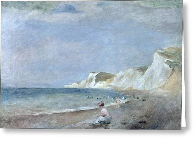 Cliffs Greeting Cards - The Beach at Varangeville Greeting Card by Renoir