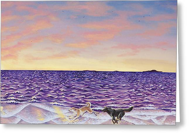 Dog Play Beach Greeting Cards - The Beach Greeting Card by Beth Davies