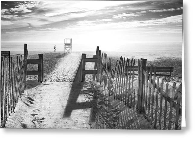 People Walking Greeting Cards - The Beach in Black and White Greeting Card by Dapixara Art
