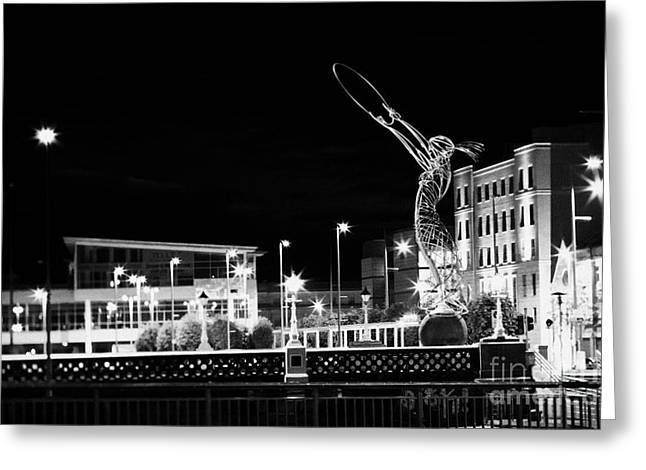 Tilt Shift Greeting Cards - the beacon of hope sculpture in Belfast Northern Ireland UK Greeting Card by Joe Fox