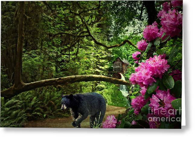 Grist Mill Digital Art Greeting Cards - The Bear Went Over the Mountain Greeting Card by Lianne Schneider