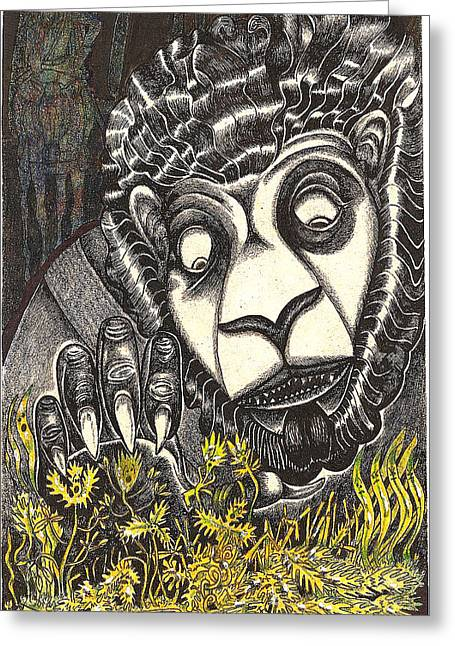 Rescue Drawings Greeting Cards - The Beast Discovers New Life Greeting Card by Al Goldfarb