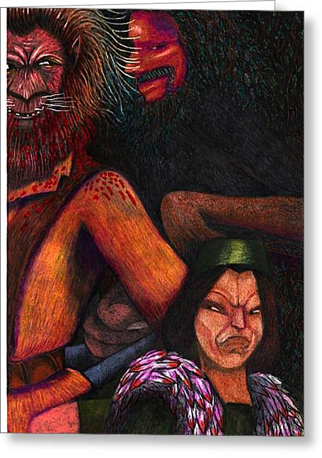 The Beast Meets With Asema And The Forest Lord Greeting Card by Al Goldfarb