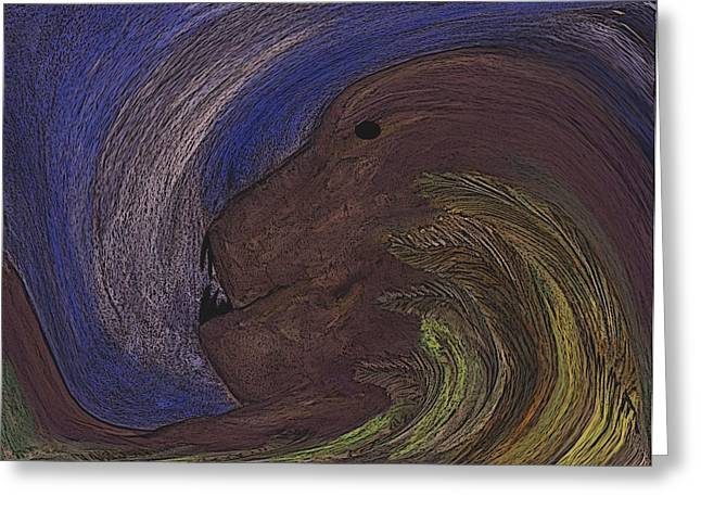 Recently Sold -  - Abstract Digital Pastels Greeting Cards - The Beast Greeting Card by Melvin Moon