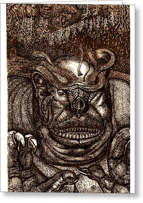 The Beast On The Ceiling Greeting Card by Al Goldfarb