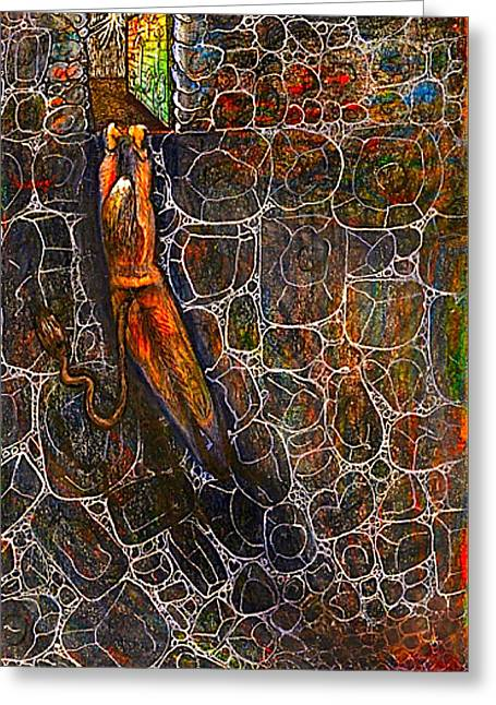 Intrigue Mixed Media Greeting Cards - The Beast Steps Into The Old Mans Cabin Greeting Card by Al Goldfarb