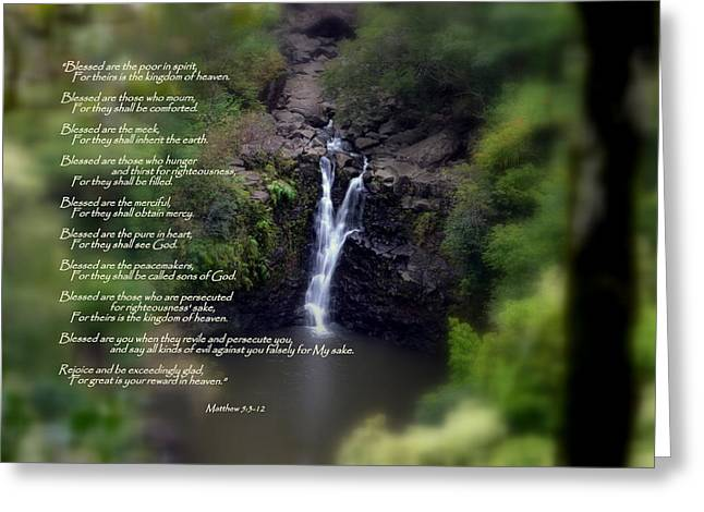 Gospel Of Matthew Greeting Cards - The Beatitudes Greeting Card by Jeanne Geidel-Neal