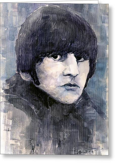 Musicians Paintings Greeting Cards - The Beatles Ringo Starr Greeting Card by Yuriy  Shevchuk
